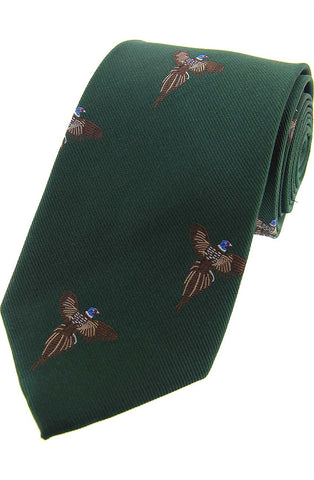 Soprano standing Stags Heads On Navy Ground Country Silk Tie