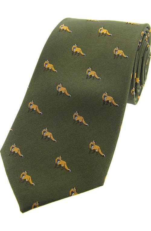 Foxes On Green Ground Country Silk Tie