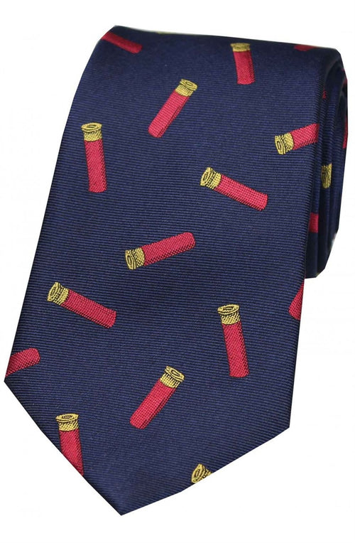 Cartridges On Navy Ground Country Silk Tie