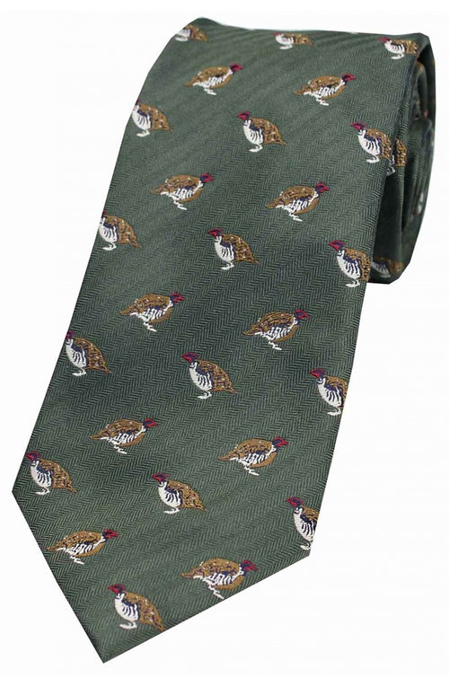 Red Legged Partridge on Green Ground Country Silk Tie