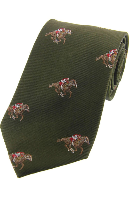 Jockeys and Horses On Green Ground Country Silk Tie