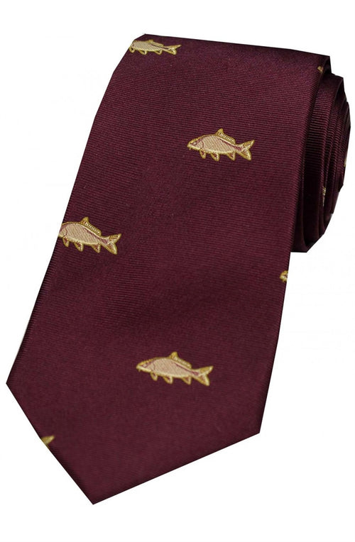 Carp On Wine Ground Country Silk Tie