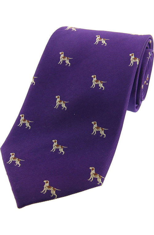 Pointer Dogs On Purple Ground Country Silk Tie