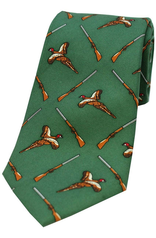 Green Flying Pheasant and Shotgun Ground Country Silk Tie