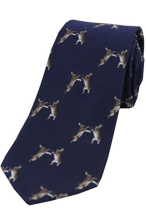 Boxing hares on Navy Ground Country Silk Tie