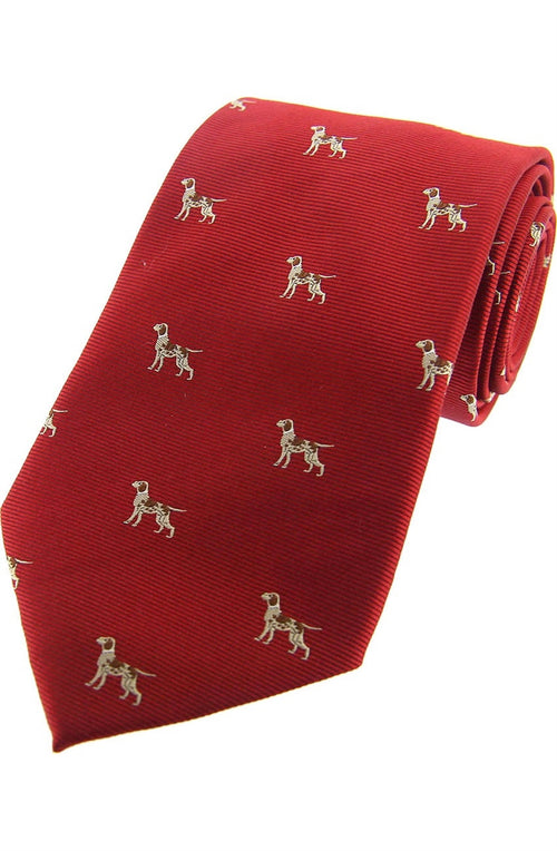 Pointer Dogs On Red Ground Country Silk Tie