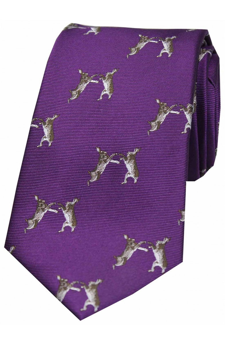 Soprano Boxing Hares On Purple Ground Country Silk Tie