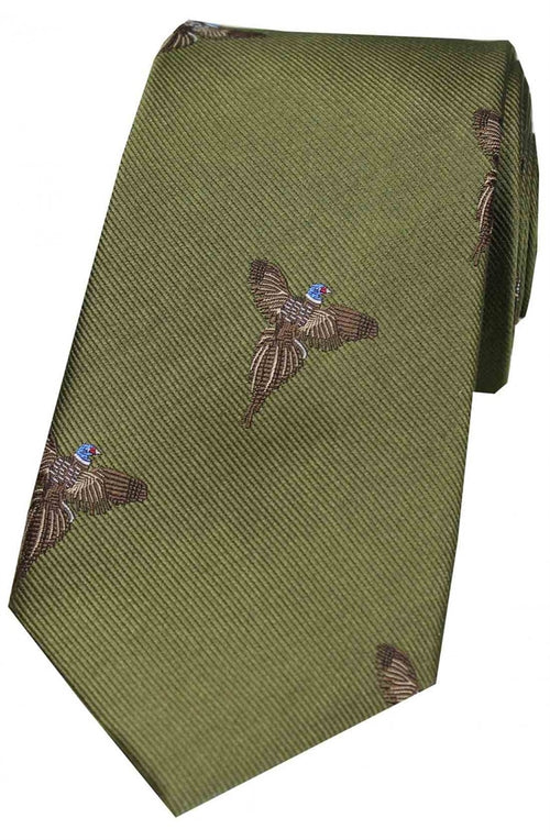 Flying Pheasants On Green Ground Country Silk Tie