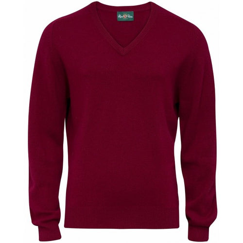 Burford Lambswool Vee Neck Pullover - Bordeaux