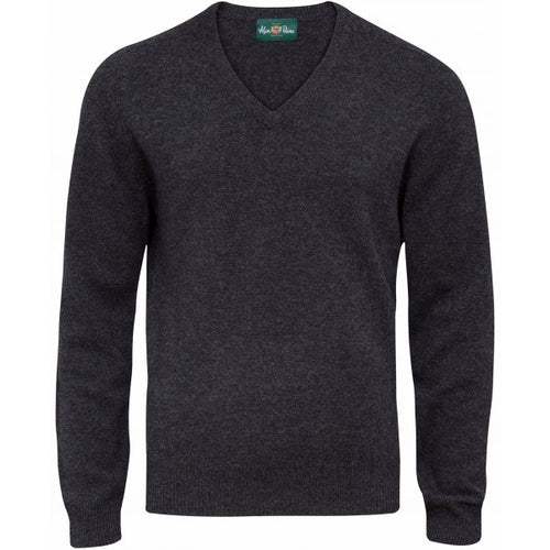 Burford Lambswool Vee Neck Pullover - Charcoal