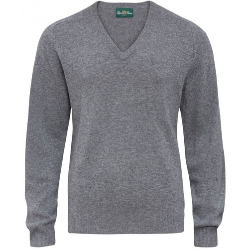 Burford Lambswool Vee Neck Pullover - Grey Mix
