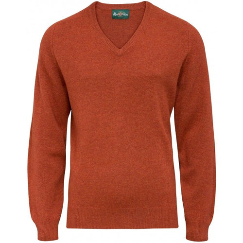 Burford Lambswool Vee Neck Pullover - Tiger