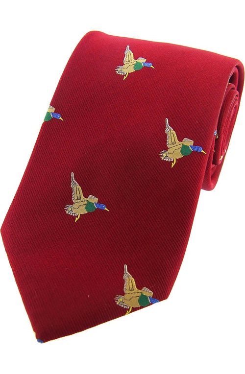 Flying Ducks On Red Ground Country Silk Tie