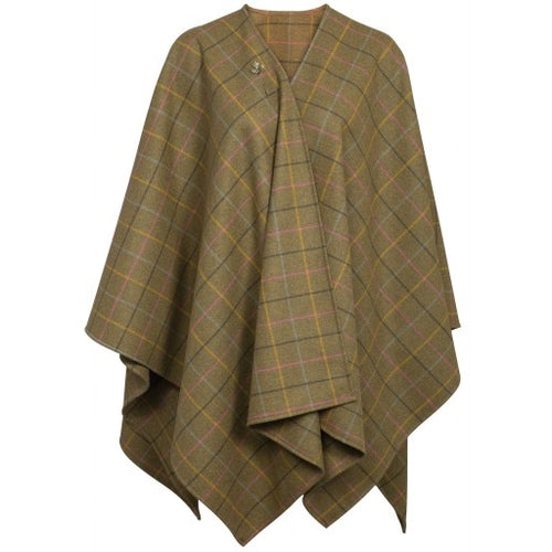 Alan Paine Compton Ladies Tweed Wrap - Dark Olive