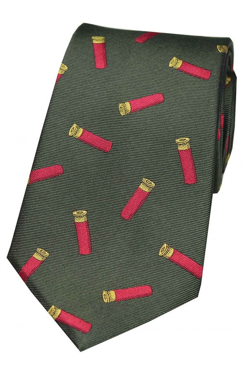 Cartridges On Green Ground Country Silk Tie