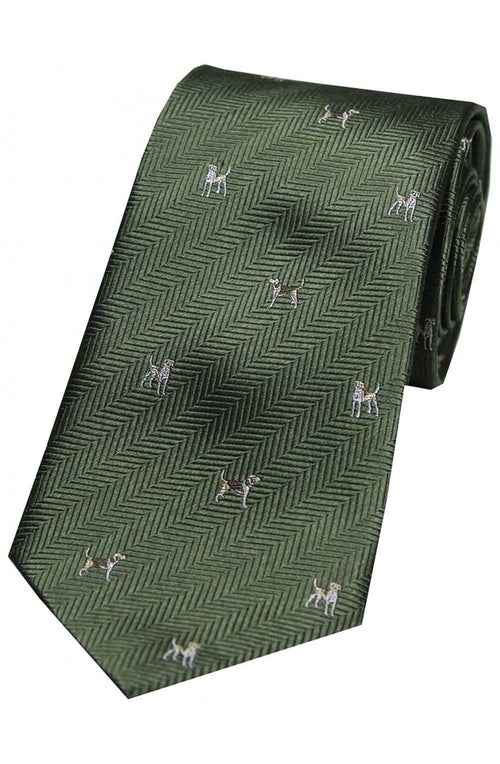 Dogs On Green Ground Country Silk Tie