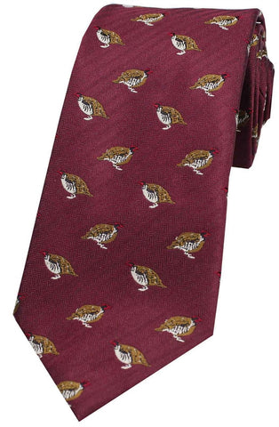 Stags Heads On Navy Ground Country Silk Tie -