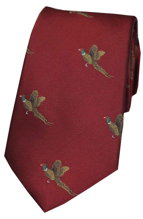 Flying Pheasants On Wine Ground Country Silk Tie