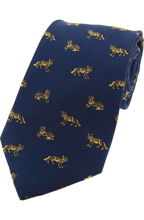 Foxes On Blue Ground Country Silk Tie