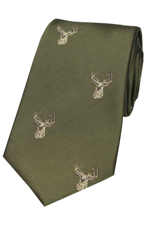 Soprano Stags Heads On Green Ground Country Silk Tie