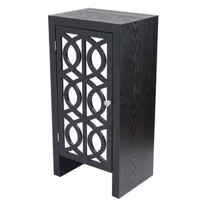 Heather Ann Creations Ellington Sing Drawer Carved Trellis Accent Cabinet, Black