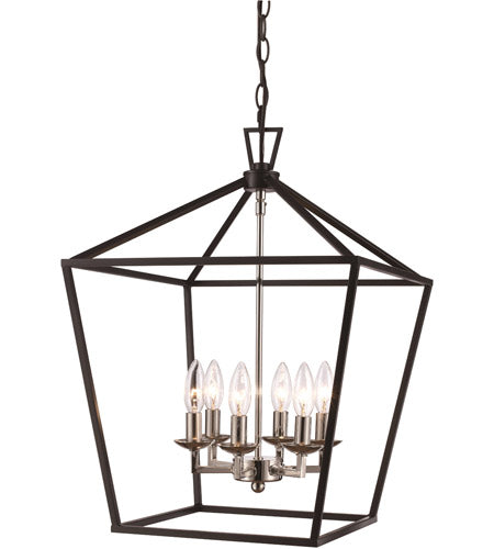 TransGlobe Lighting Lacey 6 Light Foyer Pendant, Rubbed Oil Bronze