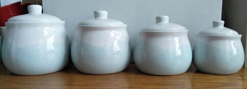 4 Piece Kitchen Canister Set-Mint/White
