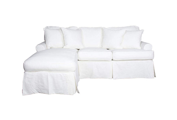 Sunset Trading Horizon Sleeper Sofa and Chaise-Slip Cover Set, Lily White