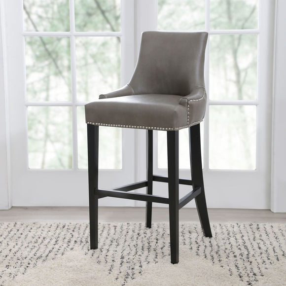 Abbyson Newport Leather Nailhead Trim Bar Stool, Grey