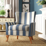 Adlai Wingback Armchair-Blue Stripped Polyester Blend