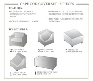 TK Classics Cape Cod Winter 8 Piece Cover Set