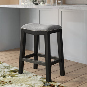 Madison Park Belfast Saddle Counter Stool, Grey