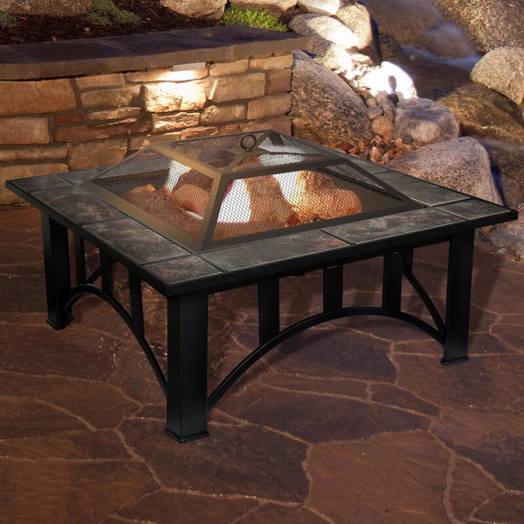 Jackqueline Steel Wood Burning Fire Pit Table