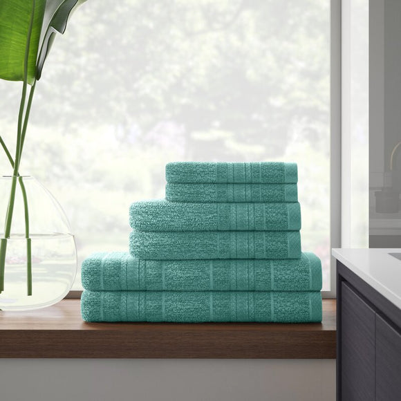 Stenberg Super Soft 6 Piece 100% Cotton Bath Towel Set (Teal)