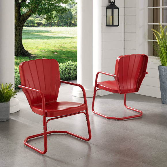 Bright Red Gloss Karim Patio Dining Chair (Set of 2)