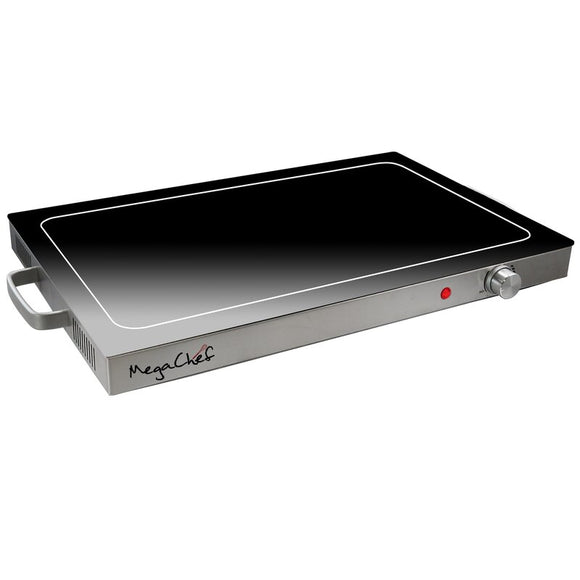 Electric Black Warming Tray with Adjustable Temperature Controls