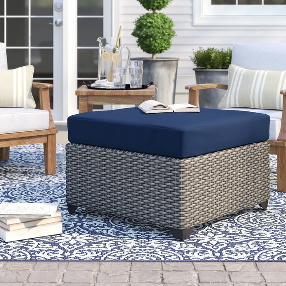 Merlyn Outdoor Ottoman with Cushion Fabric: Navy