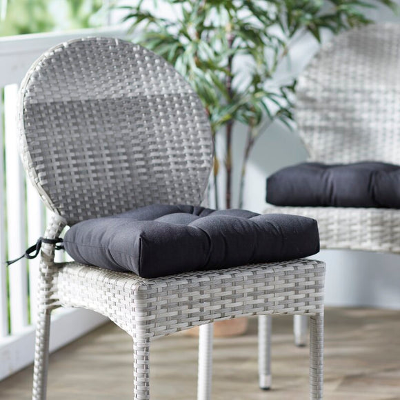 Indoor/Outdoor Dining Chair Cushion (Set of 2) - Black
