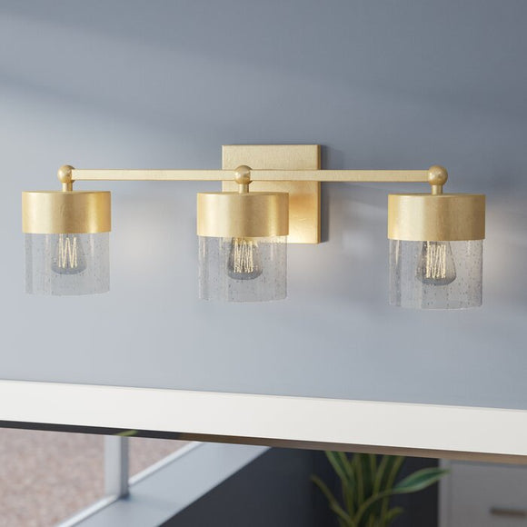 Ozella 3-Light Dimmable LED Capital Gold Vanity Light