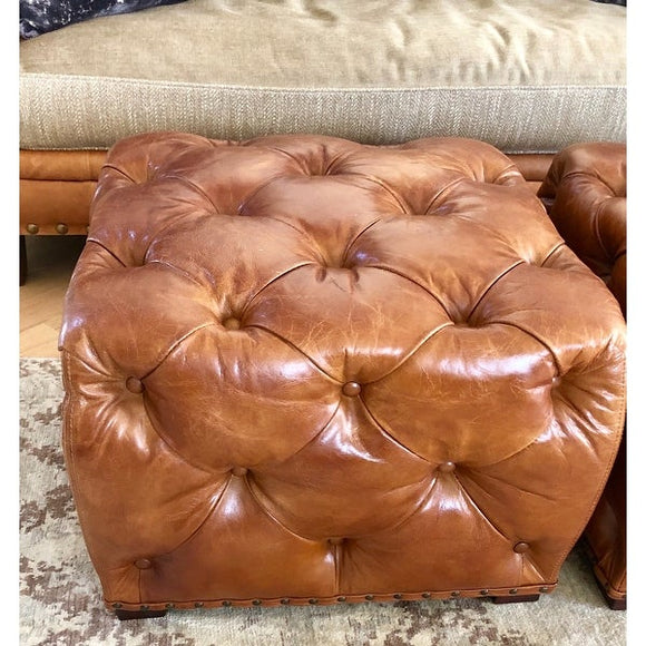 Paris Club Leather Tufted Ottoman