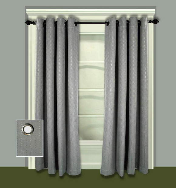 Grand Pointe 54 in. W x 84 in. L Polyester Blackout Window Panel in Smoke