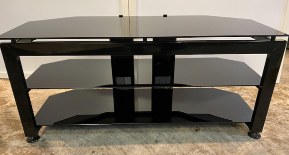 TV Stand Black -Tempered Glass and Metal