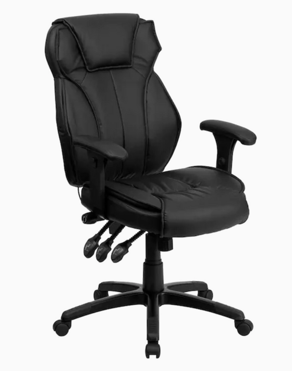 High Back Black Multifunction Swivel with Lumbar Support Knob with Arms Ergonomic Executive Chair