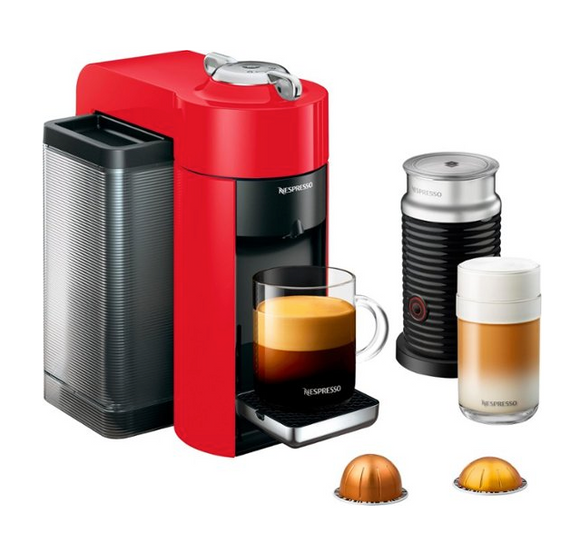 Nespresso - Vertuo Coffee Maker and Espresso Machine with Aeroccino Milk Frother by DeLonghi - Shiny Red