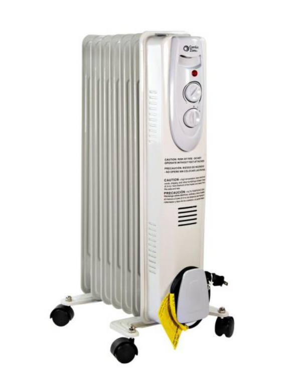 Comfort Zone CZ7007J2 Oil-Filled Electric Radiator Heater - 1200 Watts