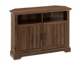 "44"" Grooved Door Corner TV Console - Dark Walnut"