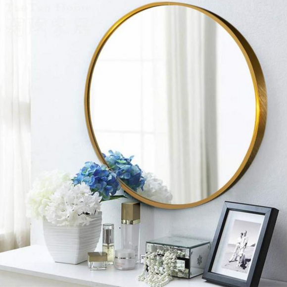NeuType Round Gold Shelves & Drawers Modern Mirror (32 in. H x 32 in. W)