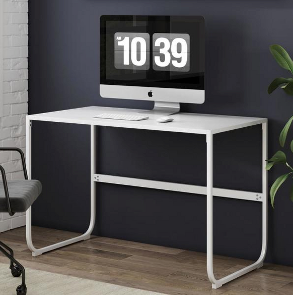 Penny White Sleek Curved Metal Simple Home Office Writing Desk