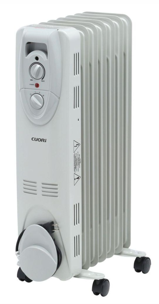 CUORI 1500-Watt Electric Oil-Filled Radiant Portable Heater, Grey