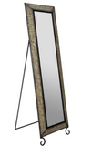 Embossed Metal Full Length Rectangular Bronze Floor Mirror